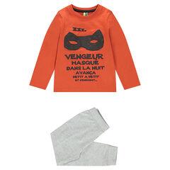 Pyjama uit jerseystof met masker en print met boodschappen