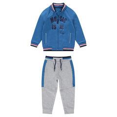 Jogging van tweekleurige molton met vest in baseballstijl en print met tekst