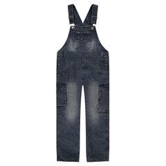 Tuinbroek uit jeans met used en crinkle effect