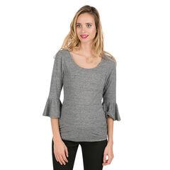 Tee-shirt de grossesse à manches 3/4 volantées
