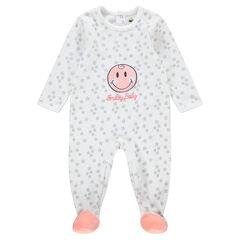 Pyjama van velours met opgelegde ©Smiley en geborduurd opschrift