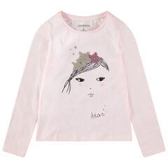 T-shirt manches longues en jersey avec princesse et couronne en sequins magiques