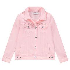 Junior - Veste en jeans rose avec perles fantaisie