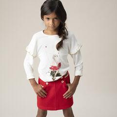 T-shirt van jerseystof met prinsessenmouwen met volants en ster van magische lovertjes