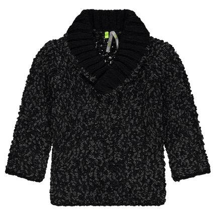 Pull en tricot fantaisie col châle