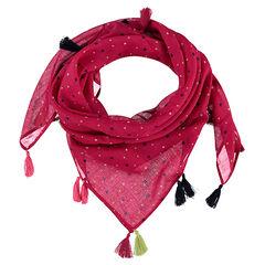 Zijden sjaal met sterrenprint en pompons