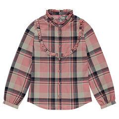 Junior - Chemise manches longues en coton fantaisie à carreaux