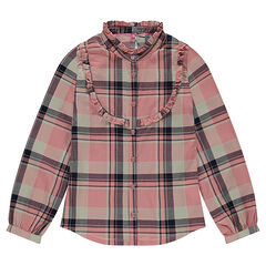 Junior -  Hemd met lange mouwen uit fantasiekatoen met ruitjes