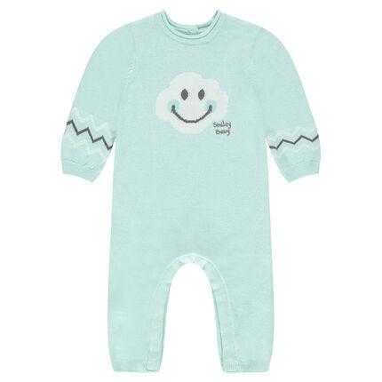 Playsuit van tricot met ©Smiley Baby motief van jacquard