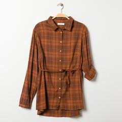 Robe chemise à carreaux camel pour enfant fille , Prémaman