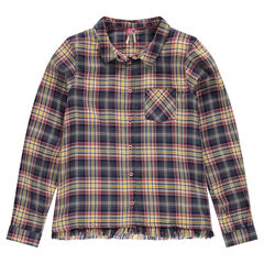 Junior - Geruit hemd met decoratieve franjes