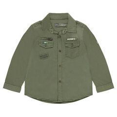 Kaki overhemd met badges en zakken