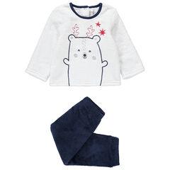 Pyjama en velours bicolore avec animal et étoiles brodées