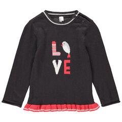 Pull en tricot avec oiseau en jacquard et volant rouge