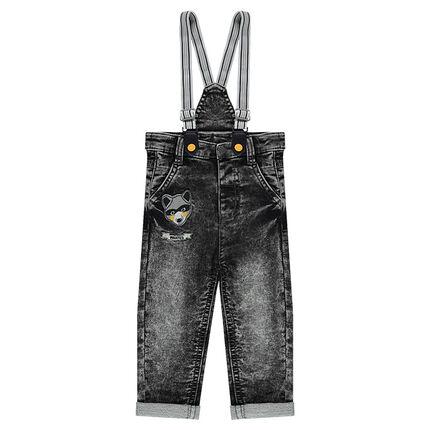 Jeans en molleton effet neige avec bretelles élastiquées