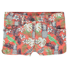 Junior - Short in twill met tropische print