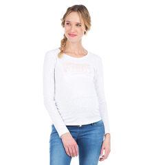 Zwangerschaps-T-shirt met lange mouwen en iriserend opschrift