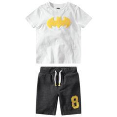 Ensemble t-shirt manches courtes patch ©Warner Batman et bermuda gris