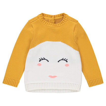 Pull en tricot bicolore avec détail visage en jacquard