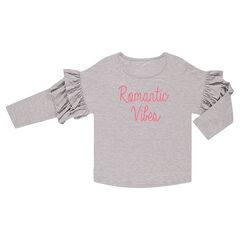 T-shirt met driekwartmouwen en opschrift met lovertjes