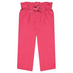 Pantalon rose avec taille smockée et noeud effet brillant
