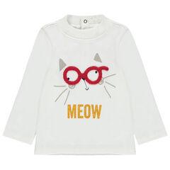 Sous-pull à col cheminée avec chat à lunettes printé