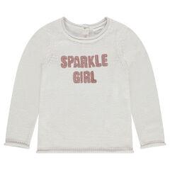 Pull en tricot uni avec message en sequins