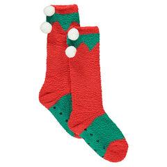 Paire de chaussettes hautes antidérapantes esprit Noël avec pompons