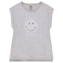 Junior - T-shirt met korte mouwen van jerseystof en mesh met ©Smiley-print