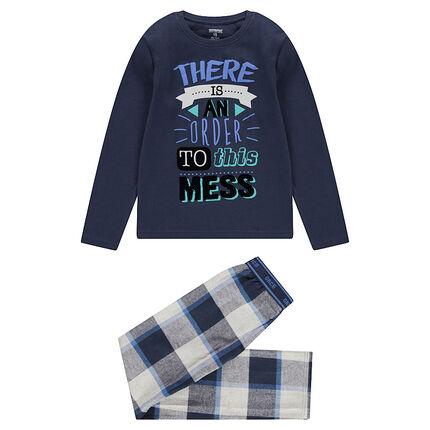 Junior - Pyjama met bovenstuk met print en broek van flanel met ruitjes