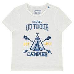 T-shirt met korte mouwen van slub jerseystof met print met tipi aan de voorzijde