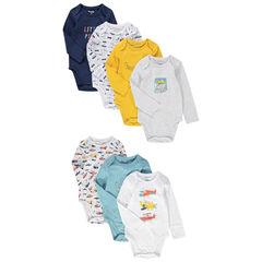 Set van 7 body's met lange mouwen uit jerseystof met gekleurde prints