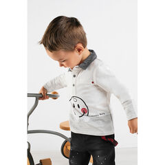 Polo manches longues avec col chambray et print ©Smiley