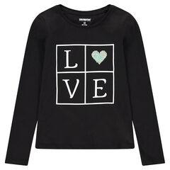 Junior - T-shirt met lange mouwen met boodschap en hartje van magische lovertjes