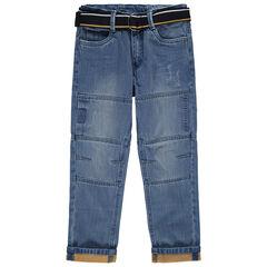 Straight-fit jeans met used en crinkle effect en afneembare en verstelbare riem