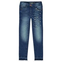 Jeans met used en crinkle effect en met fantasieparels