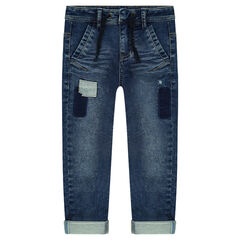 Jeans van molton met used effect en patches