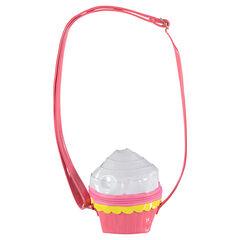 Gelakte handtas in de vorm van een cupcake, met verstelbare schouderband.