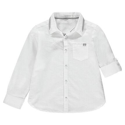 Chemise de cérémonie manches longues en coton avec poche et détails rayés