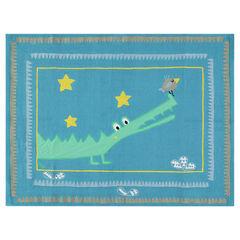 Katoenen tapijt met krokodil en vogel