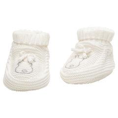 Pantoffel van dikke stof met geborduurde konijnen