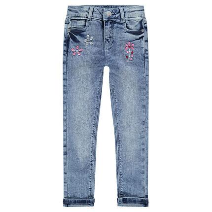 Slim fit jeans met used effect en decoratieve strassteentjes