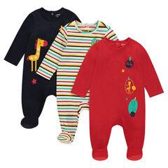 Set van 3 pyjama's uit jerseystof met dierenprint