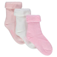 Set van 3 paar sokken in krullen badstof
