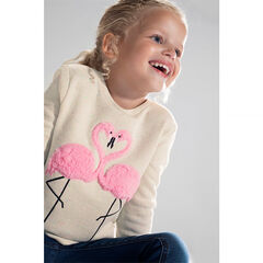 Sweat en molleton effet neps avec flamants rose en sherpa
