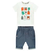 Ensemble van t-shirt met korte mouwen met print met personages en van broek uit chambray