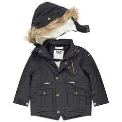 Parka van linnen met sherpavoering met zakken en afneembare kap