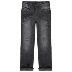 Jeans met used en crinkle effect en met slijtage met voering van jerseystof
