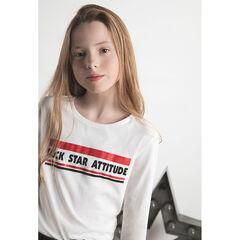 Junior - T-shirt met lange mouwen van jerseystof met print met boodschap