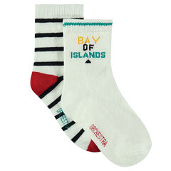 Set met 2 paar matching sokken gestreept / effen